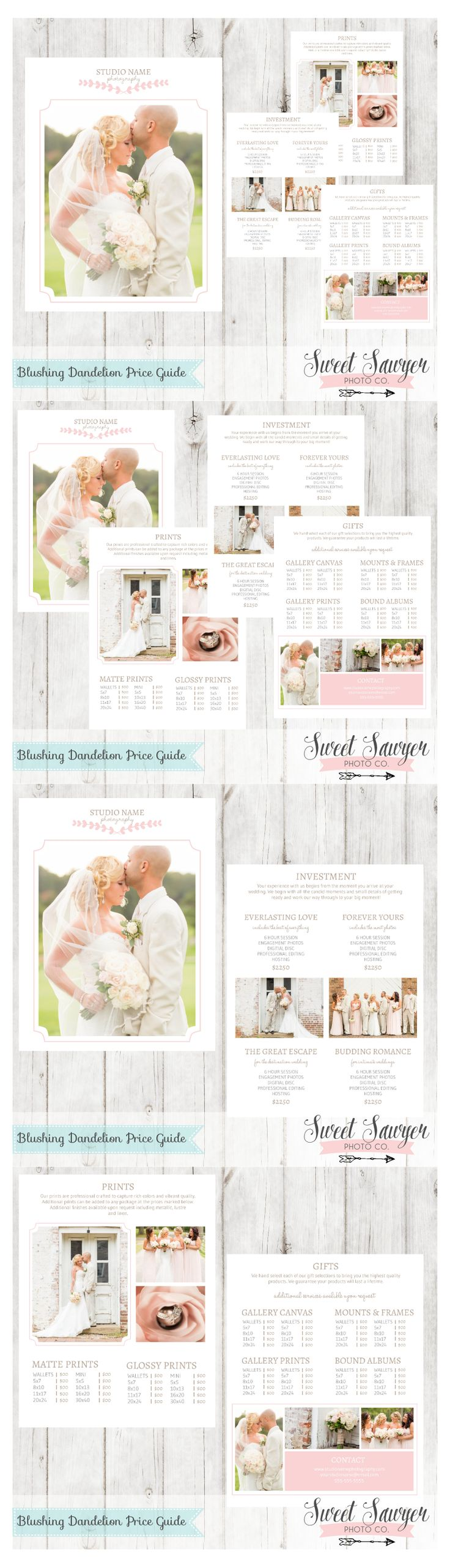 Wedding Price Guide Template for Photography Marketing. Handcrafted for wedding photographers.