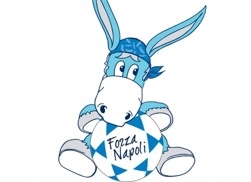 CIUCCIO PELUCHE 65CM  Grande peluche asinello Forza Napoli, con palla in mano-color azzurro bianco azzurro