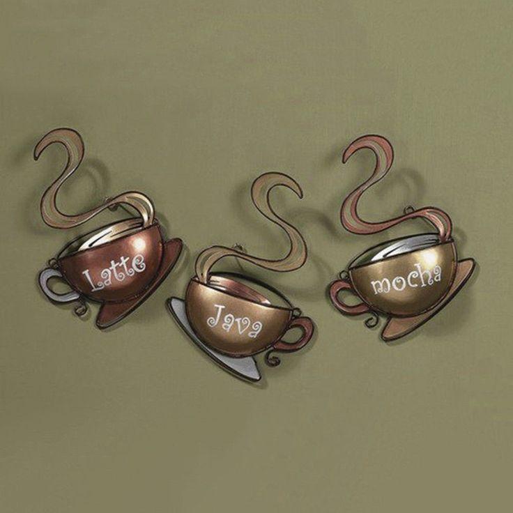 Coffee House Cup Design Mug Latte Java Mocha Metal Wall Art Home Decor New  #Traditional