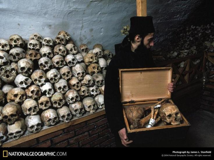 Simonopetra Skulls, Mount Athos, Greece, 1982