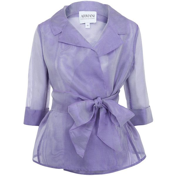 Armani Collezioni Lilac Organza Silk Tie Jacket (€550) ❤ liked on Polyvore featuring outerwear, jackets, tops, coats, blazers, silk blazer, purple blazer jacket, light weight jacket, silk jacket and formal evening jackets