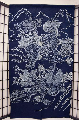Japanese Noren Curtain Shishi Laion Noren 92 NEW | eBay