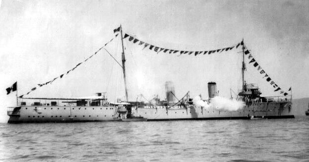 """he BAP """"Almirante Grau"""" 1 anchored in the outer harbor of Callao, bunting and making gun salute by the visit of General Commander of the Fleet 1937"""