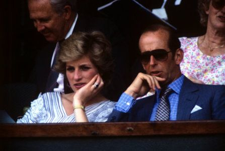 The Princess of Wales watching the tennis match between Pat Cash and Mats Wilander, with the Duke…