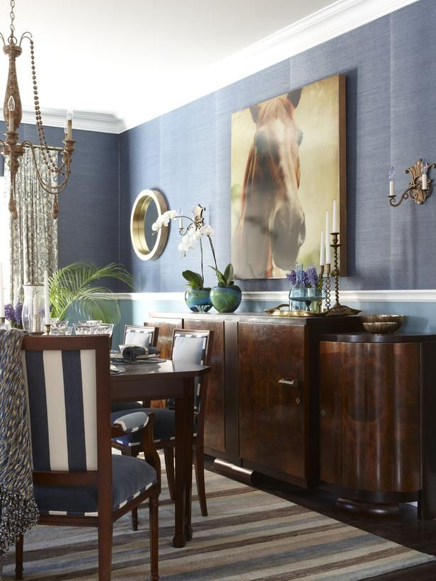 Dining Room With Art Deco Sideboard Varied Mix Of Blues And Greens