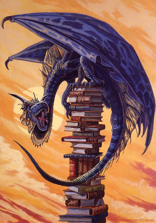 """Bookwyrm""   14""x18"" Acrylic on Masonite   © 1993 William O'Connor"