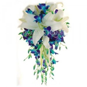 Blue Orchid teardrop wedding bouquet