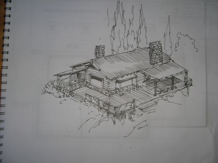 Croquis cabaña en Mendoza; Argentina