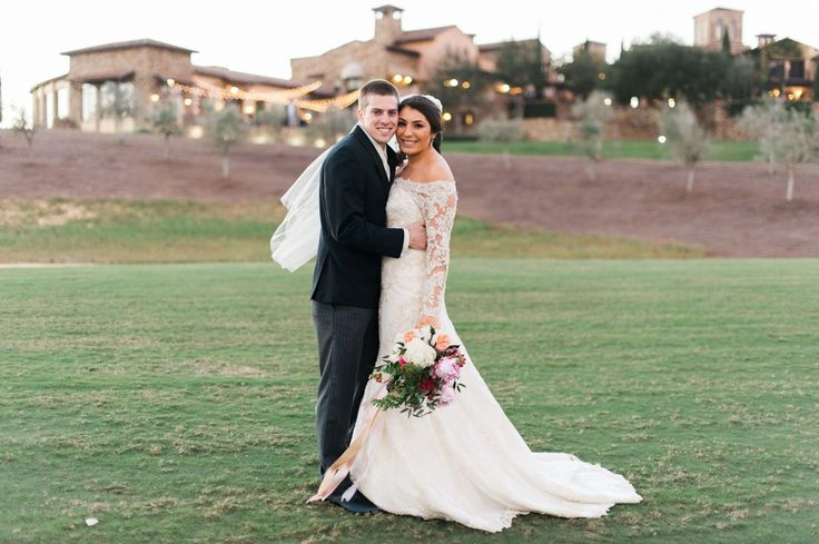 Lace Off the Shoulder Gown https://www.thecelebrationsociety.com/weddings/flowering-winter-wedding-club-bella-collina-montverde-fl/