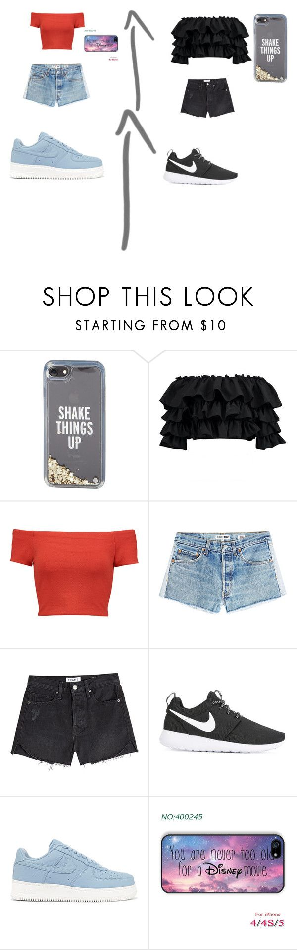 """""""Im so bored so this is a this or that :D"""" by shawnmendeslover-841 ❤ liked on Polyvore featuring Kate Spade, Boohoo, Alice + Olivia, RE/DONE, Frame, NIKE and Disney"""
