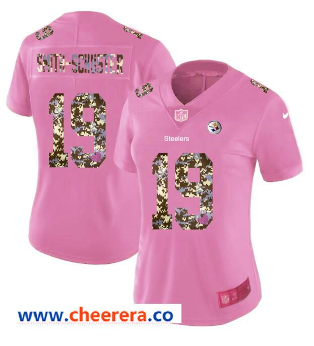 3a6be1a1692 Nike Steelers 19 JuJu Smith-Schuster Pink Camo Fashion Women Limited Jersey
