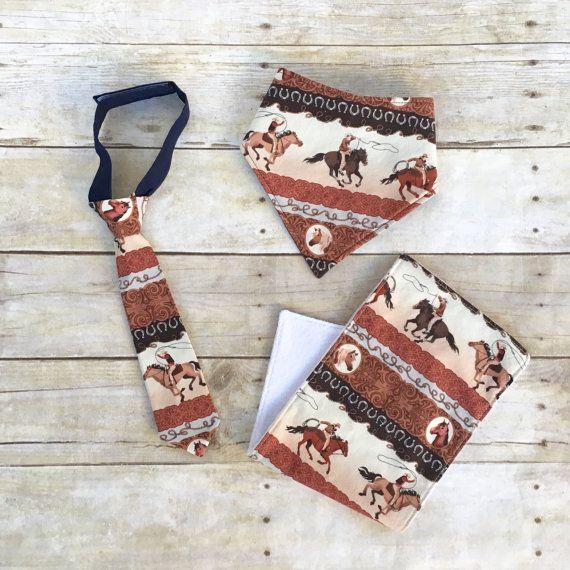 Baby Cowboy Gift Set Cowboy Bandana Bib by KristieLeighDesigns