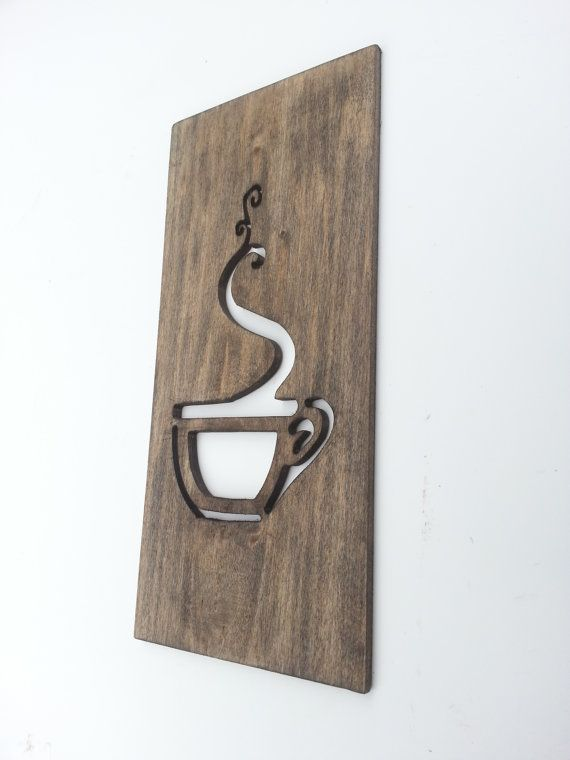 Kitchen Art Coffee Sign Modern Wood Home Decor Unique Wall