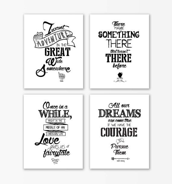 Disney Beauty and the Beast nursery print Quotes,Beauty beast nursery, baby shower gifts,nursery prints,nursery quote set of 4,arrow prints