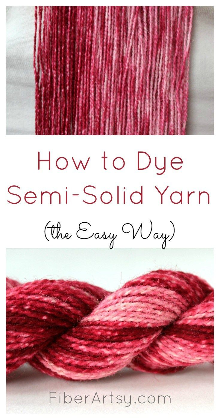 Learn how to dye semi solid yarn with lovely tone variations the easy way with this simple dyeing technique. Free yarn dyeing tutorial from FiberArtsy.com
