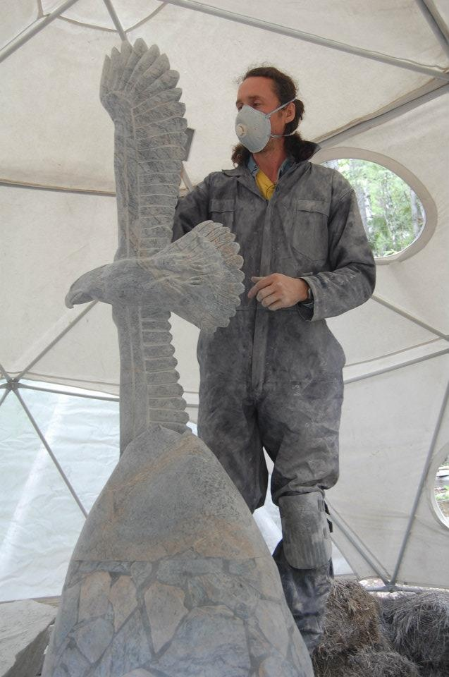 Very last touch, detail is crucial before the oiling  www.soapstone-sculpture.com