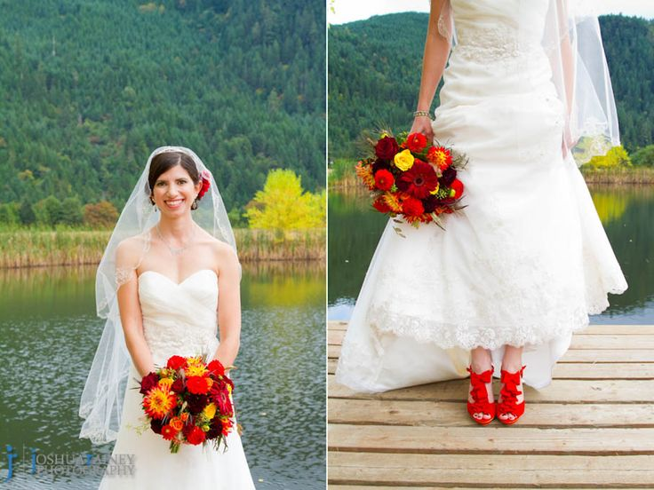 Elkton Oregon Bride At Her Wedding With Red Shoes