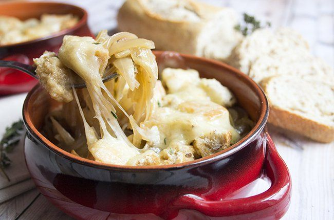 Recipe: Skinny French Onion Soup; Just be sure to replace beef broth with Veggie!  Maybe even a savory one, like mushroom :3