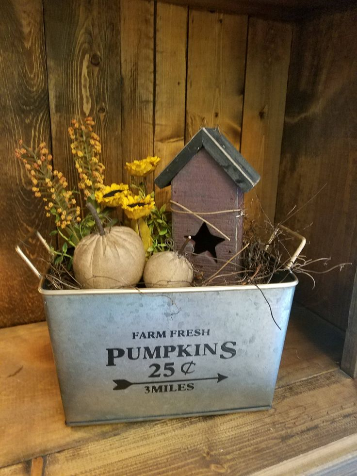 Fall decor, country fall decor, primitive fall decor, pumpkins, birdhouse, sunflowers by Kimscountrykreations on Etsy