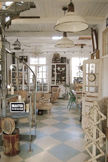 lots of looks here....ideas, ideas, ideasShabby Chic Shops Display, Industrial Farmhouse, White Lacquer, Painting Floors, White Decor, Spiral Staircases, Vintage Stores Display Ideas, Spirals Staircas, Painted Floors