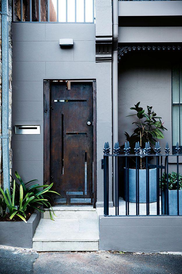 A gothic industrial front door