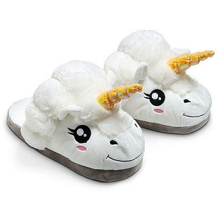 Winter Plush Unicorn Slippers Cute Funny Men Adult Slippers Women Home Shoes Warm Cotton With Heel Pantufas Zapatillas Unicornio