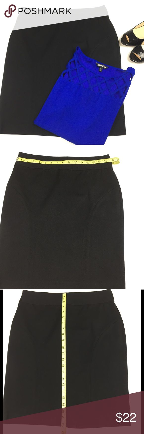 Banana Republic Black Straight Skirt l 8 This new black Banana Republic straight style skirt, size 8, is a must have! This lovely skirt is made of 56% viscose, 39% cotton and 5% spandex. For waist and length measurements see photos. Banana Republic Skirts