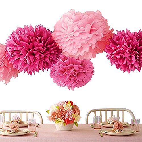 Bekith 20 Pack Tissue Paper Flowers Pom Poms Wedding Decor Party Decor Pom Pom Flowers Pom Poms Craft Pom Poms Decoration