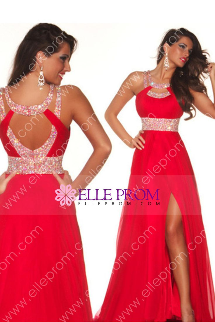 2014 Sexy Prom Dresses A Line Scoop Sweep/Brush Red  Open Back