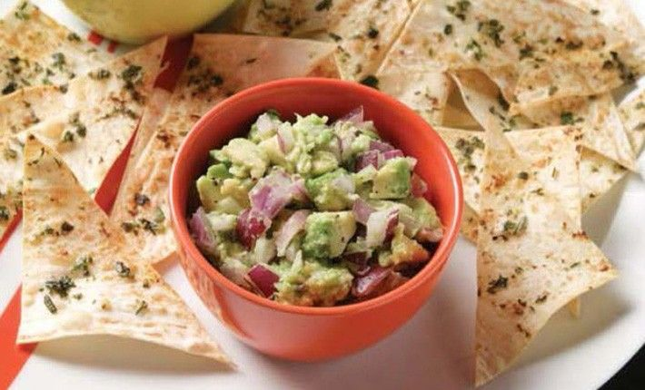 A tasty TV snack or an easy-to-prepare sharing dish for a small gathering; these chips made with Mountain Bread are easy to make, and the dips too, with fresh, healthy ingredients.