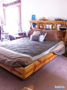 Quick fix for an outdated waterbed! Great bedroom makeover. featured on betterafter.net