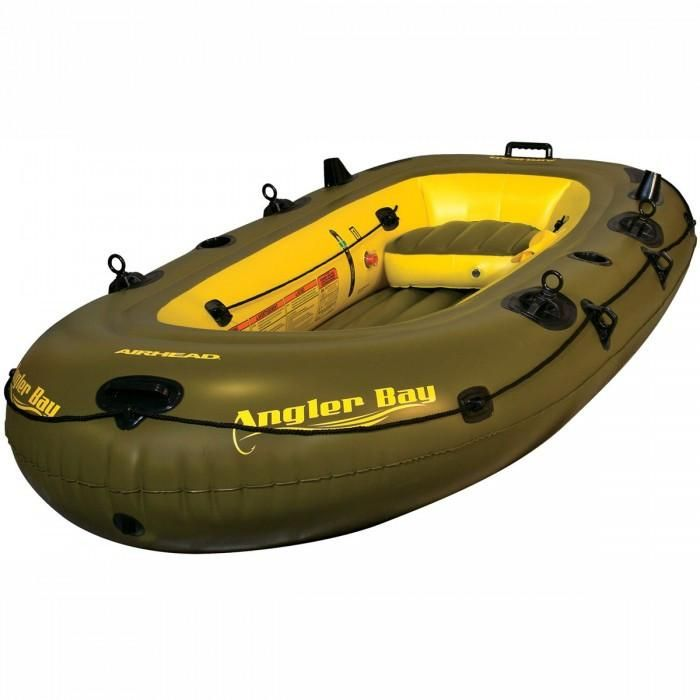 Airhead Angler Bay 4 Person Inflatable Boat AHIBF-04 -680 lbs capacity-Fishing and Safe Water Ready