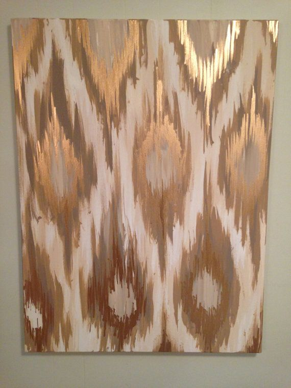 Gold Ikat Painting by 1921 on Etsy. Use this shape (feather-like) cut out to trace out pattern