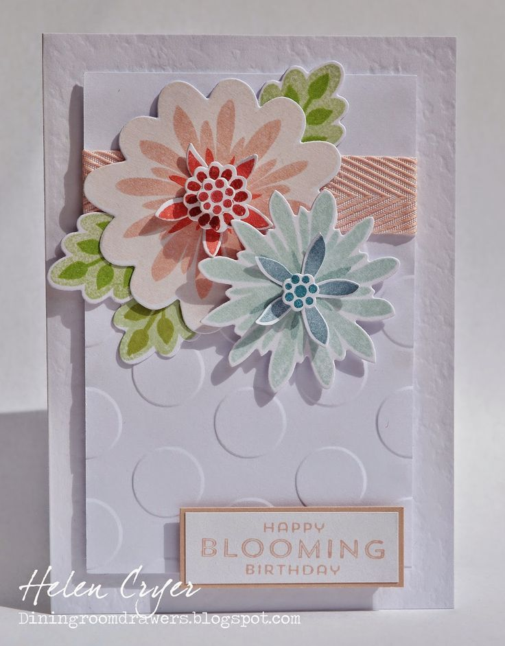 Crazy 4 Challenges Stampin' Up Flower Patch, Flower Fair framelits, photopolymer, Card