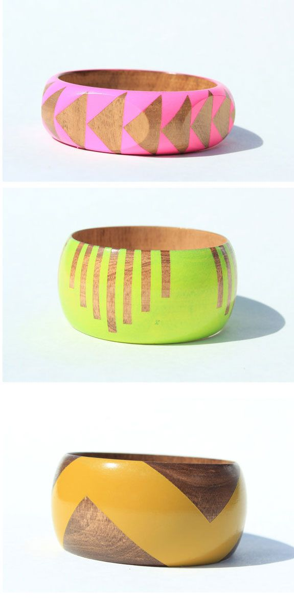 Wood painted bracelets | We can consider these as Boho-chic since they're a contemporary take on tribal... I guess