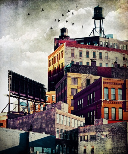 """""""the rooftop #3"""" Tim Jarosz is a professional photographer and designer based in Chicago. He creates cityscapes by collaging his photographs and digitally modifying their color and texture."""