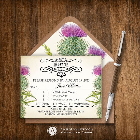 printable rsvp card rustic purple thistle editable instant download diy vintage floral wedding reply card