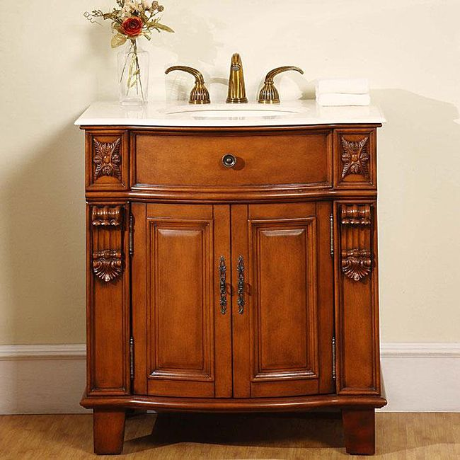 Pics On Silkroad Wood and Marble inch Single Sink Bathroom Vanity Cabinet Exquisite Rich Antiqued Cherry Finish Crema Marfil Countertop