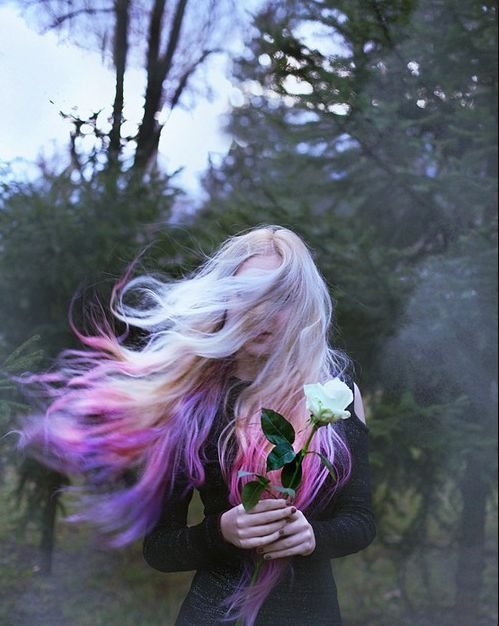 Blonde to purple and pink ombre