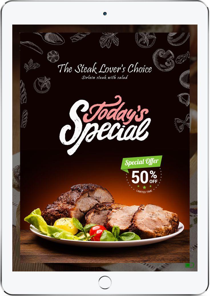 Promote your specials with FineDine Tablet Menu.   #tabletmenu #menu #restaurants #cafe #ipadmenu #digitalmenu #menuapp #menuapplication #restaurantapp