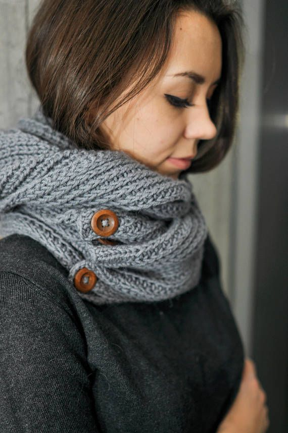 Women's knitted soft cashmere  scarf handmade work gray