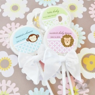 Baby Animals Personalized Lollipop Baby Shower Favors
