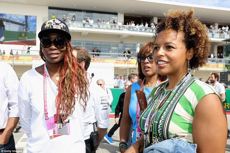 Former world No 1 Venus Williams (left) was one of many high profile guests in the grid ahead of the game
