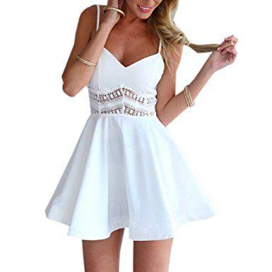 Minetom Damen Sexy Sommerkleid kurz Ärmellos V-Ausschnitt Spitze Spleiß strandkleider Rock Partykleid Cocktaikleid ( Weiß EU M )