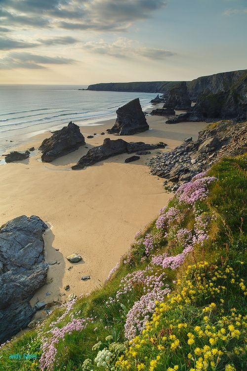 Bedruthan Steps, Cornwall, England. This is almost the exact spot I got engaged…