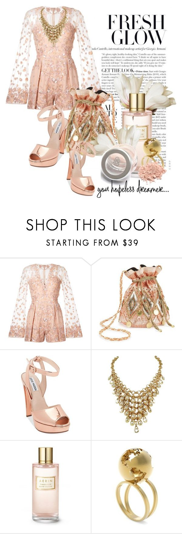 """A Fresh Glow"" by queenrachietemplateaddict ❤ liked on Polyvore featuring Zuhair Murad, Miss Selfridge, Steve Madden, Estée Lauder, Artelier, peach, Heels, pale, playsuit and romper"