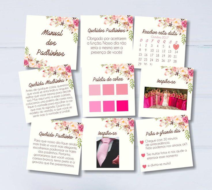 Manual dos Padrinhos floral rosa - Digital
