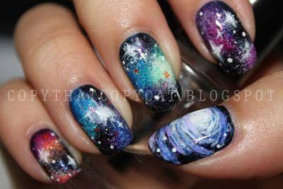 insane galaxy nailsNails Art, Amazing Galaxies, Awesome Nails, Makeup, Galexy Nails, Beautiful, Galaxy Nails, Spaces Nails, Galaxies Nails
