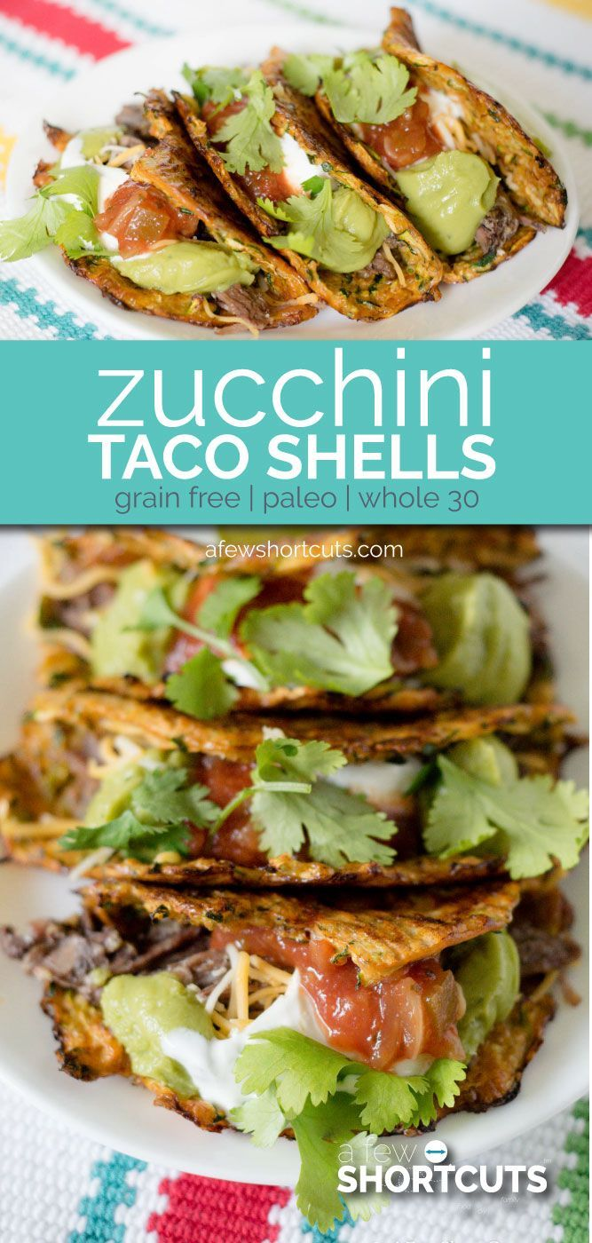 Healthy tacos are a possibility with these yummy Zucchini Taco Shells. Only 3 ingredients in this recipe and perfect if you are on the Whole30, 21 Day Fix, or Paleo diets.