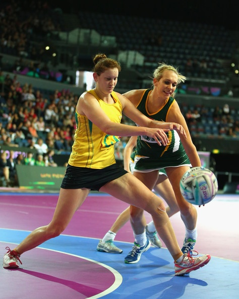 Vanes-Mari du Toit and Karyn Howarth at the Fast5 Netball World Series on Day Two.